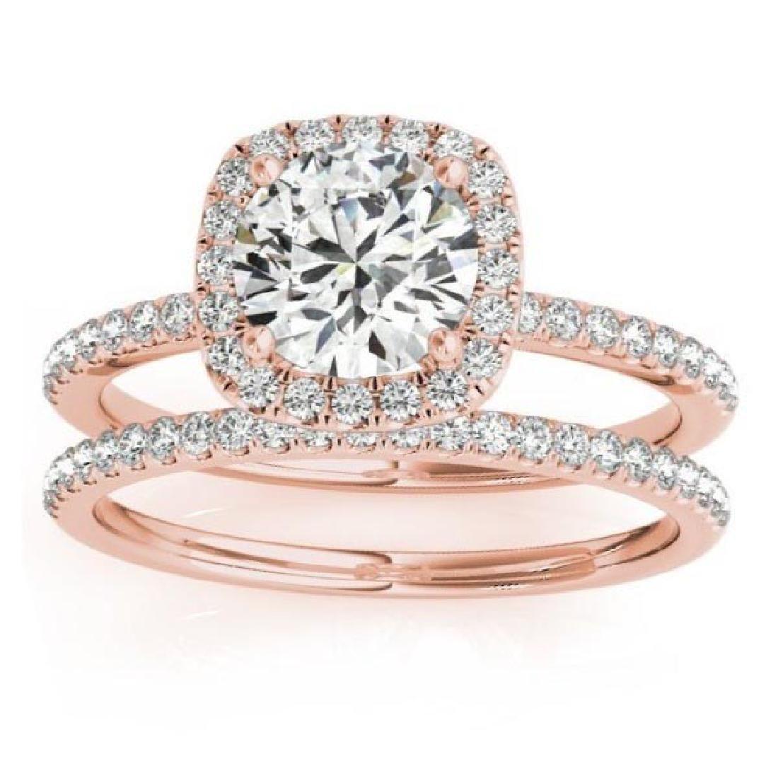 Square Halo Diamond Bridal Set Ring and Band 14K Rose G