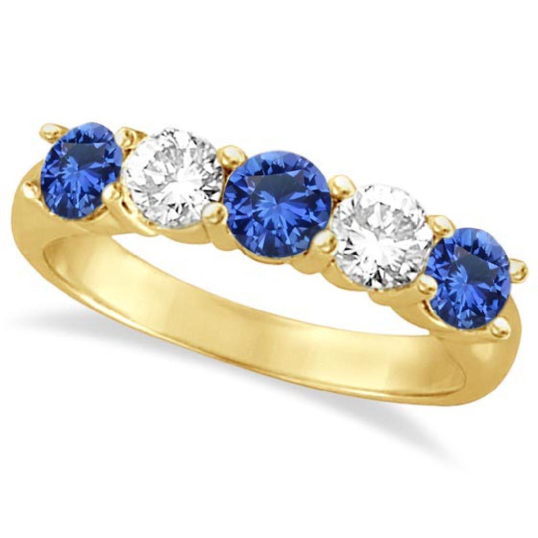 Five Stone Blue Sapphire and Diamond Ring 14k Yellow Go