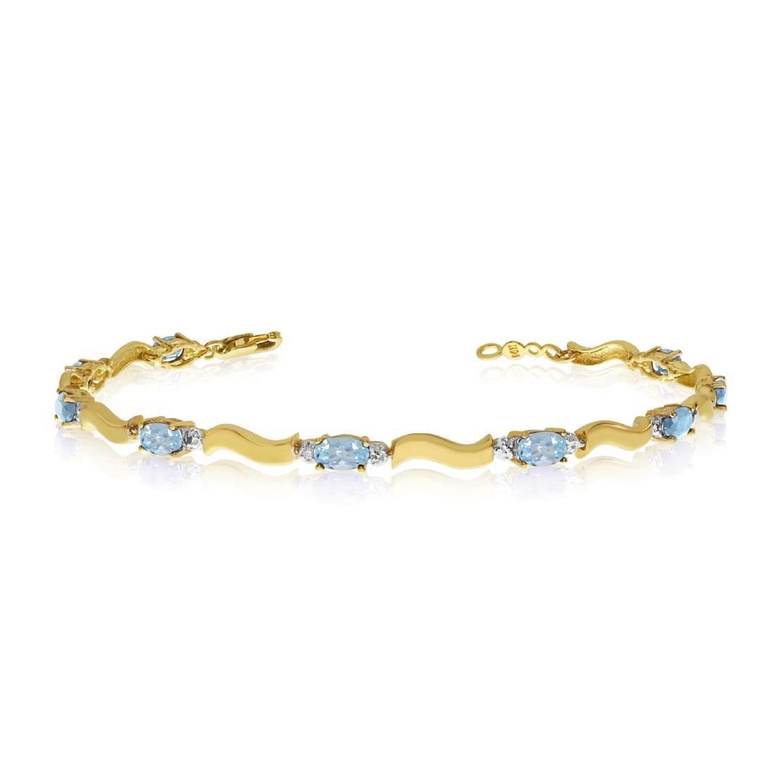 Certified 14K Yellow Gold Oval Aquamarine and Diamond B
