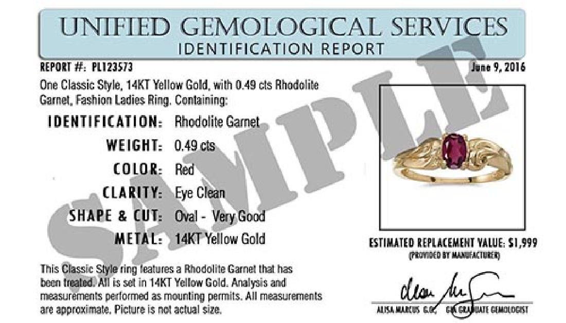 Certified 14K Yellow Gold Oval Aquamarine and Diamond B - 2