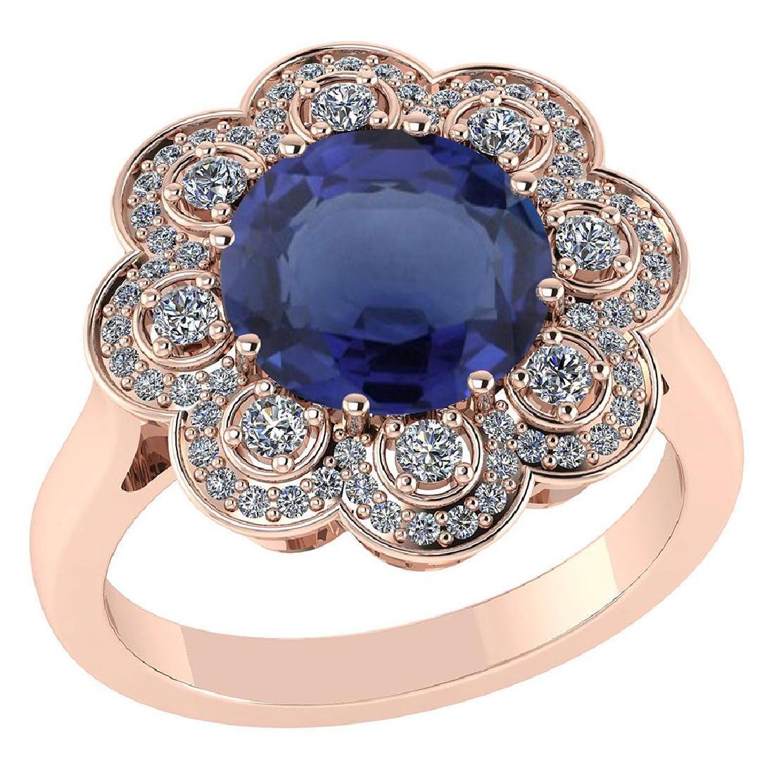 Certified 4.42 CTW Genuine Blue Sapphire And Diamond 14