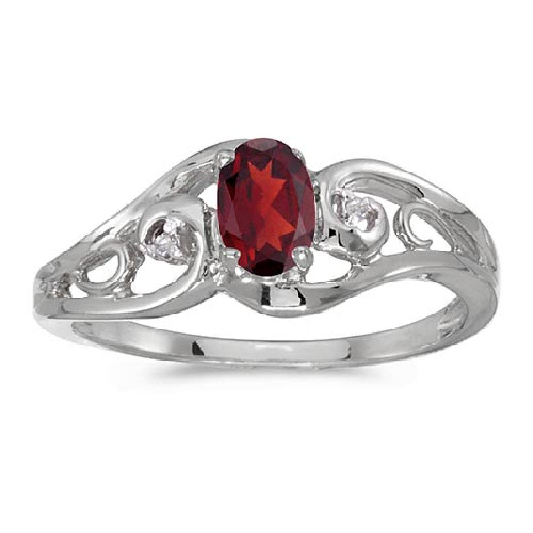 Certified 14k White Gold Oval Garnet And Diamond Ring