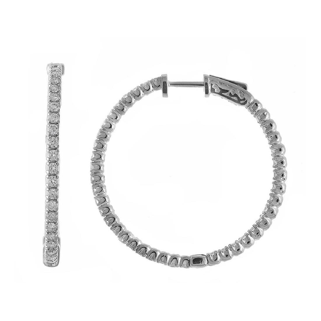 Certified 14K 3ct White Gold Diamond Secure Lock 35 mm