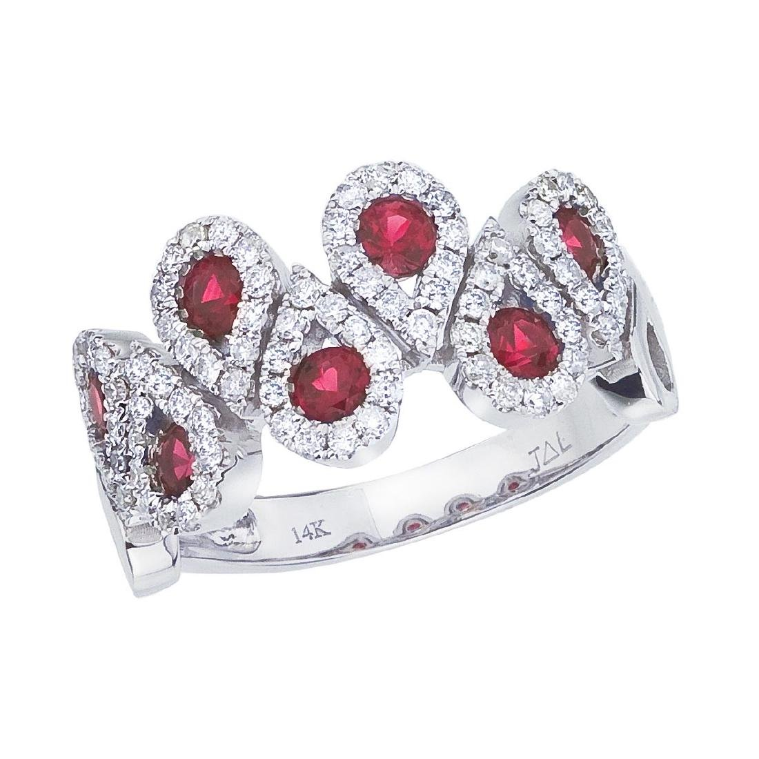 Certified 14k White Gold Ruby and .48 CTW Diamond Fashi