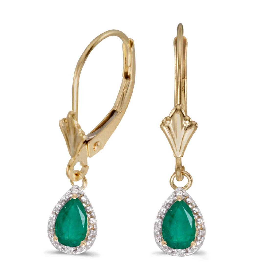 Certified 14k Yellow Gold Pear Emerald And Diamond Leve