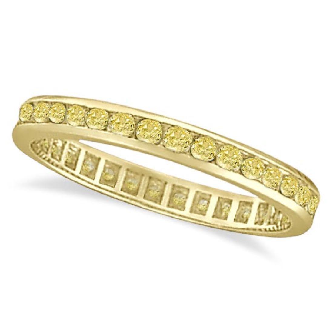 Channel Set Yellow Canary Diamond Eternity Ring 14k Yel