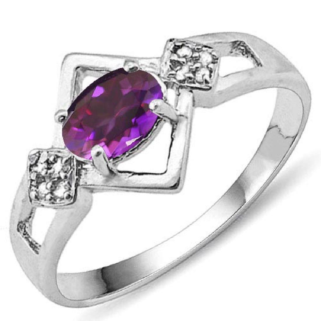 Certified 1.13 Ctw. Genuine Amethyst And Diamond 14K Wh