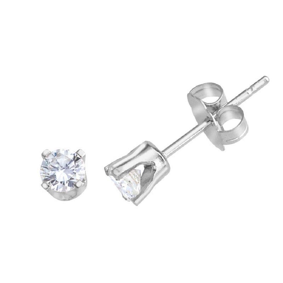 Certified 14k White Gold 0.20 Ct Diamond Stud Earrings