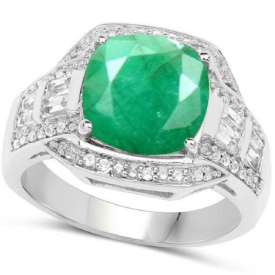 Certified 5.80 CTW Genuine Emerald And Diamond 14K Whit