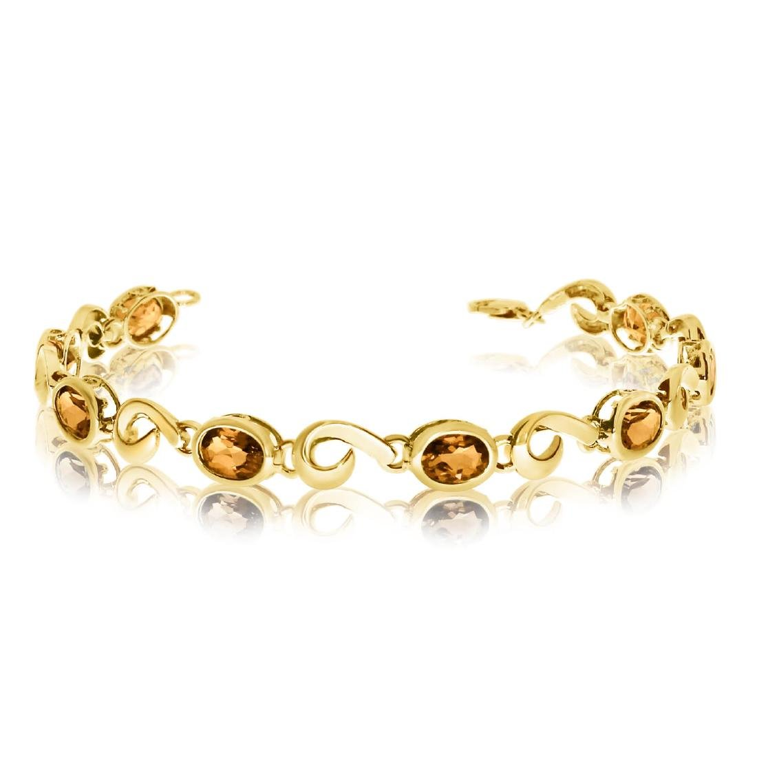 Certified 14K Yellow Gold Oval Citrine Bracelet 5.12 CT