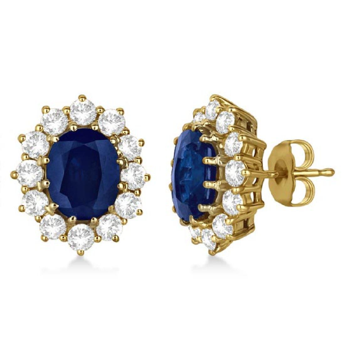 Oval Blue Sapphire and Diamond Accented Earrings 14k Ye