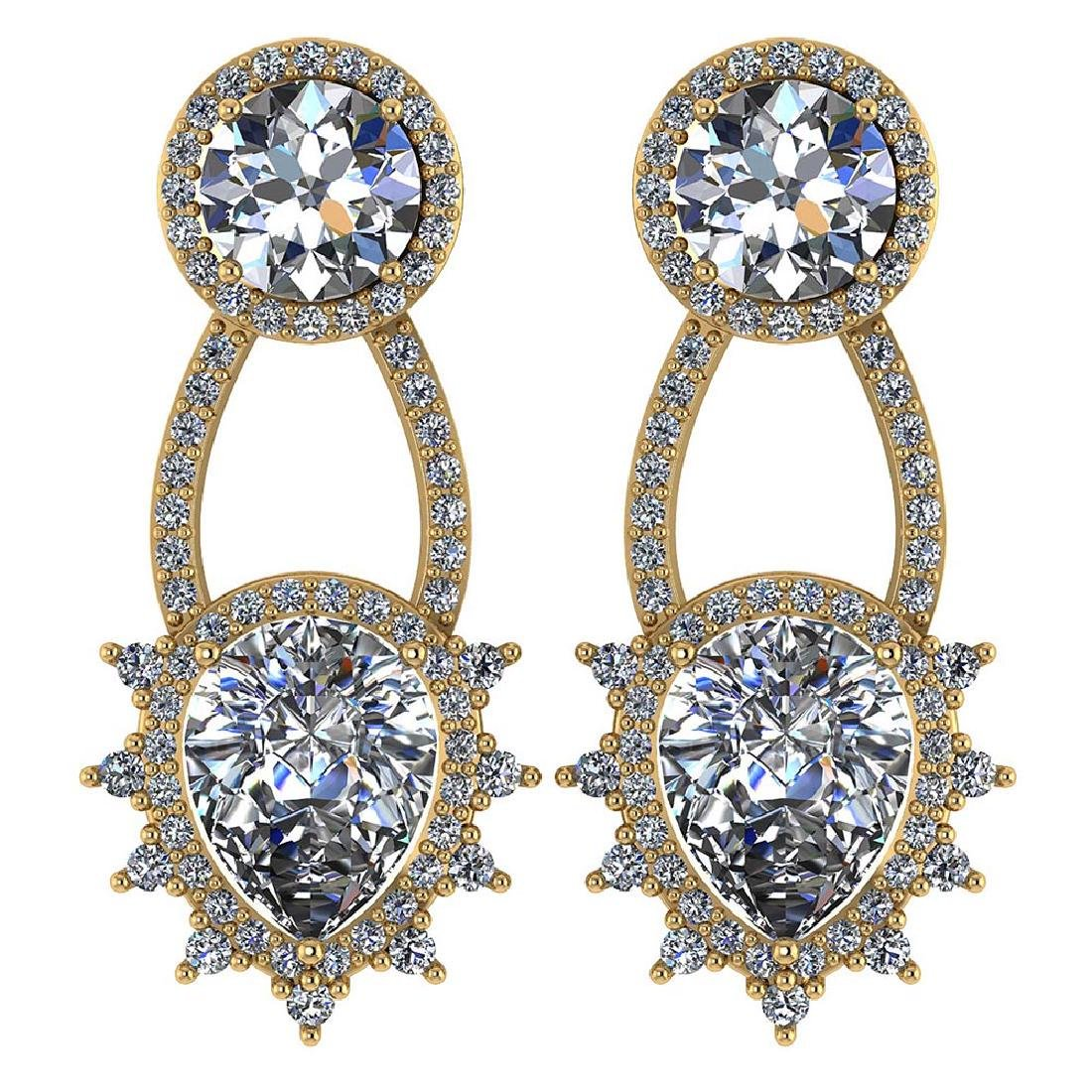 Certified 3.00 CTW Round And Pear Diamond 14K Yellow Go