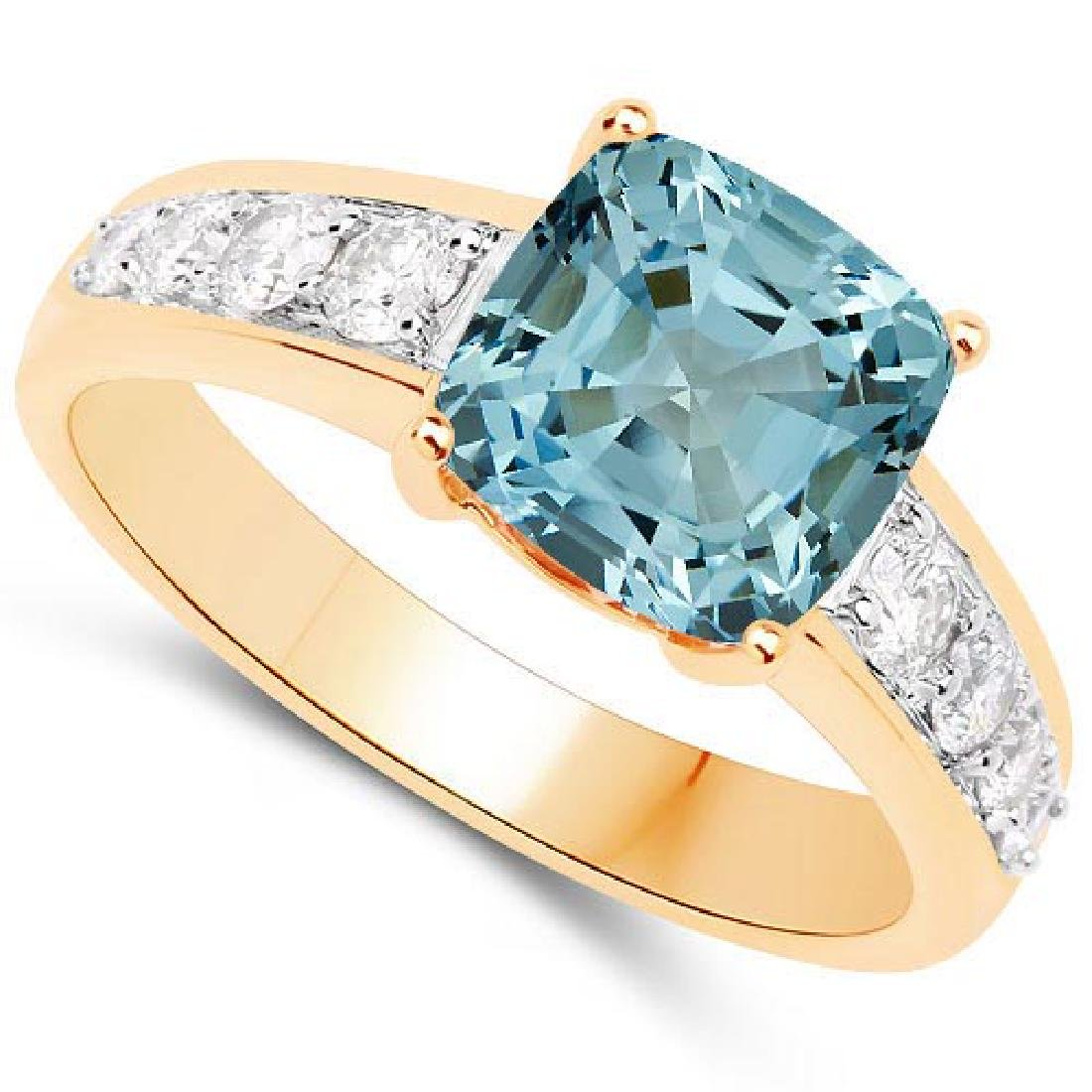 Certified 1.85 CTW Genuine Bule Topaz And Diamond 14K Y