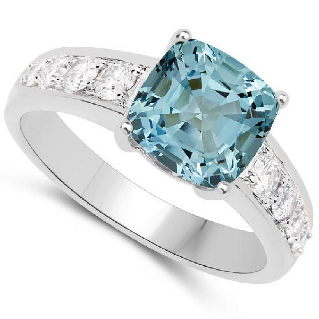 Certified 2.45 CTW Genuine Bule Topaz And Diamond 14K W