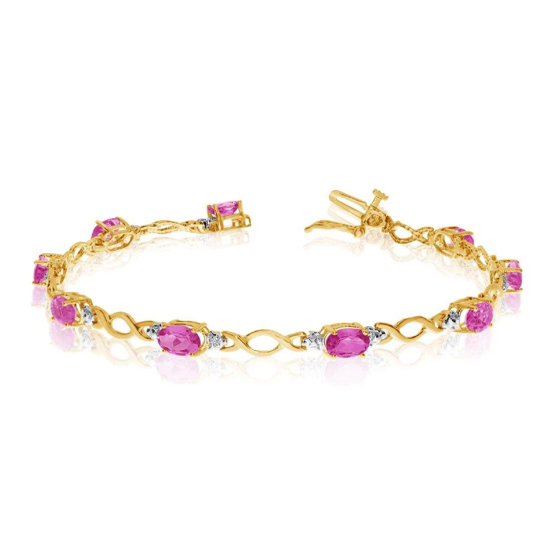Certified 14K Yellow Gold Oval Pink Topaz and Diamond B