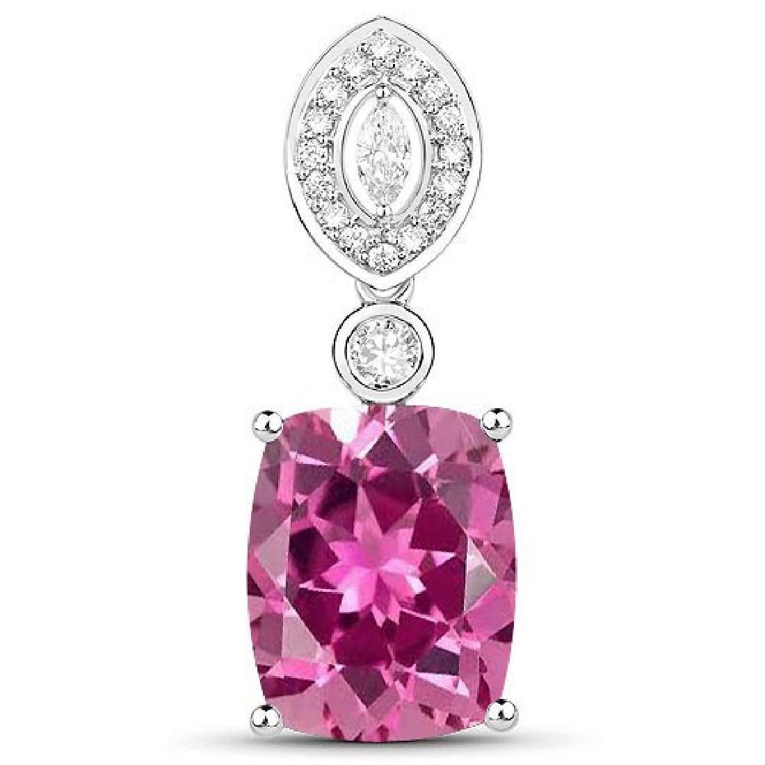 Certified 5.20 CTW Genuine Pink tourmaline And Diamond