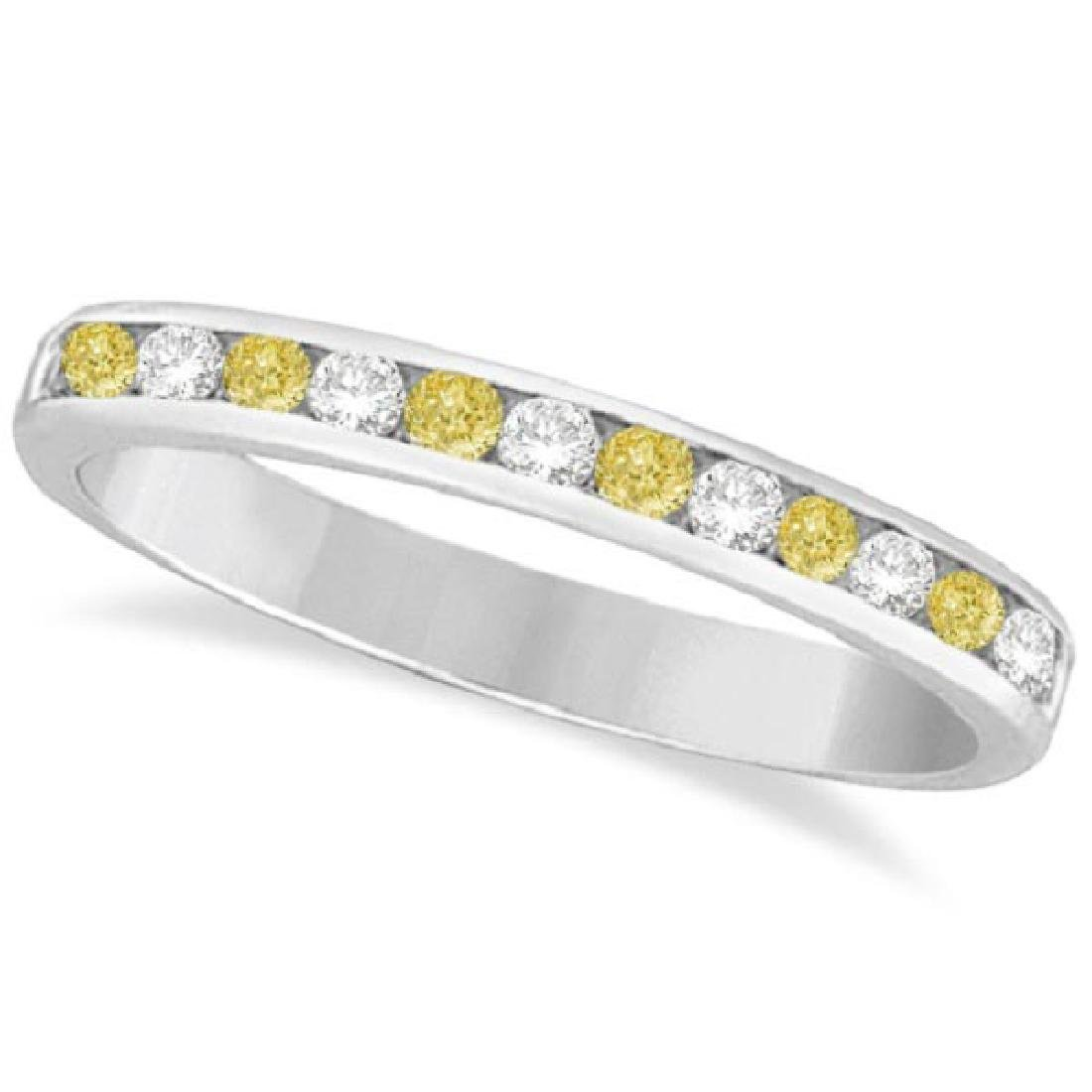 Channel-Set Yellow Canary and White Diamond Ring 14k Wh