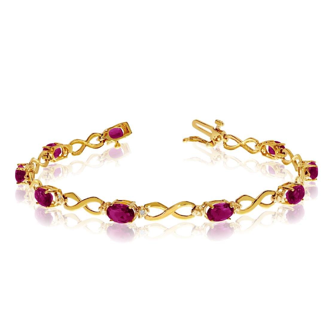 Certified 10K Yellow Gold Oval Ruby and Diamond Bracele
