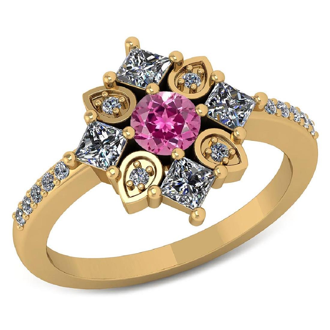 Certified .54 CTW Genuine Pink Tourmaline And Diamond 1
