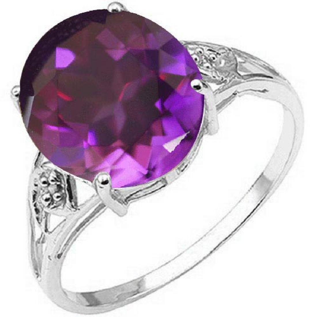 Certified 1.10 Ctw. Genuine Amethyst And Diamond 14K Wh