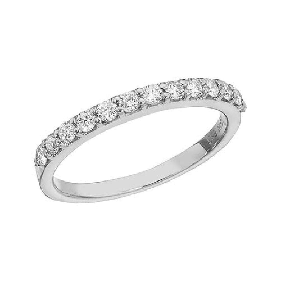 Certified 14K White Gold Diamond Diamond Band Ring