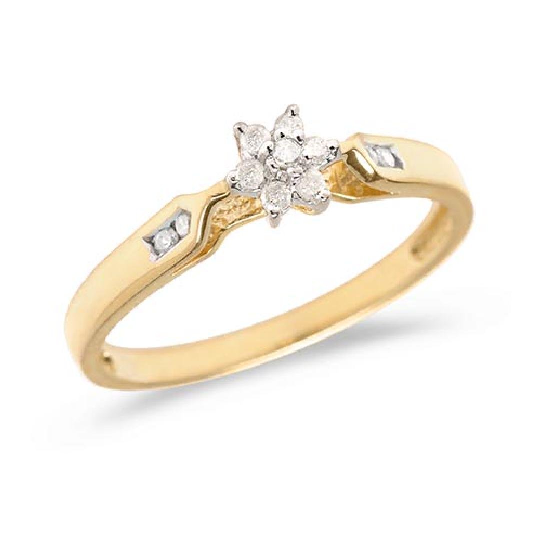 Certified 10K Yellow Gold Diamond Cluster Ring