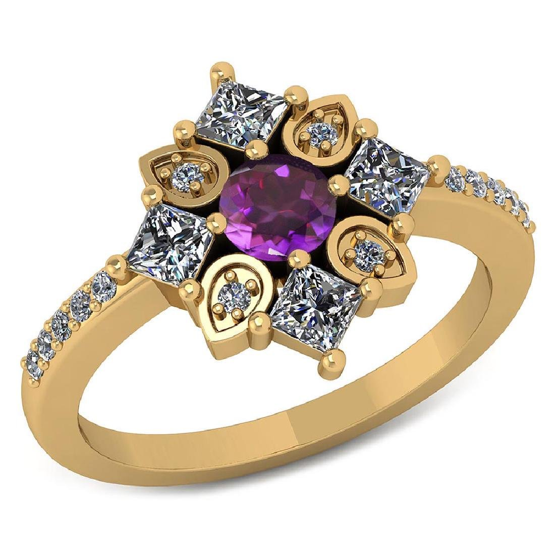 Certified .74 CTW Genuine Amethyst And Diamond 14K Yell