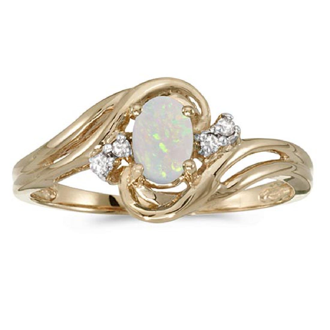 Certified 10k Yellow Gold Oval Opal And Diamond Ring