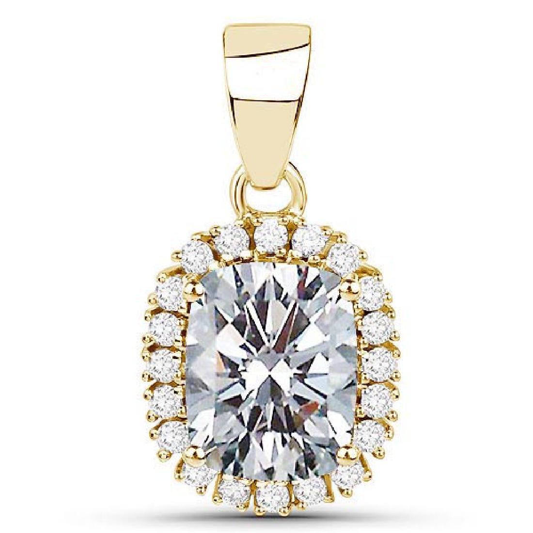Certified 1.40 CTWCussion Diamond 14K Yellow Gold Penda