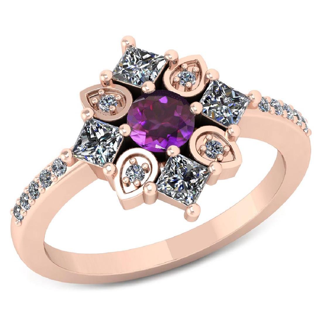 Certified .74 CTW Genuine Amethyst And Diamond 14K Rose