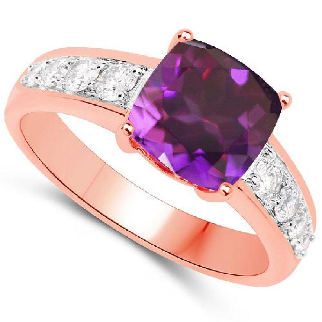 Certified 2.35 CTW Genuine Amethyst And Diamond 14K Ros