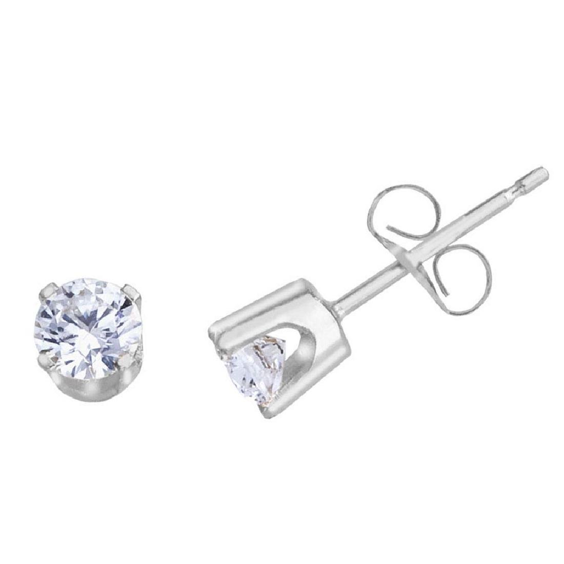 Certified 14k White Gold 0.40 Ct Diamond Stud Earrings