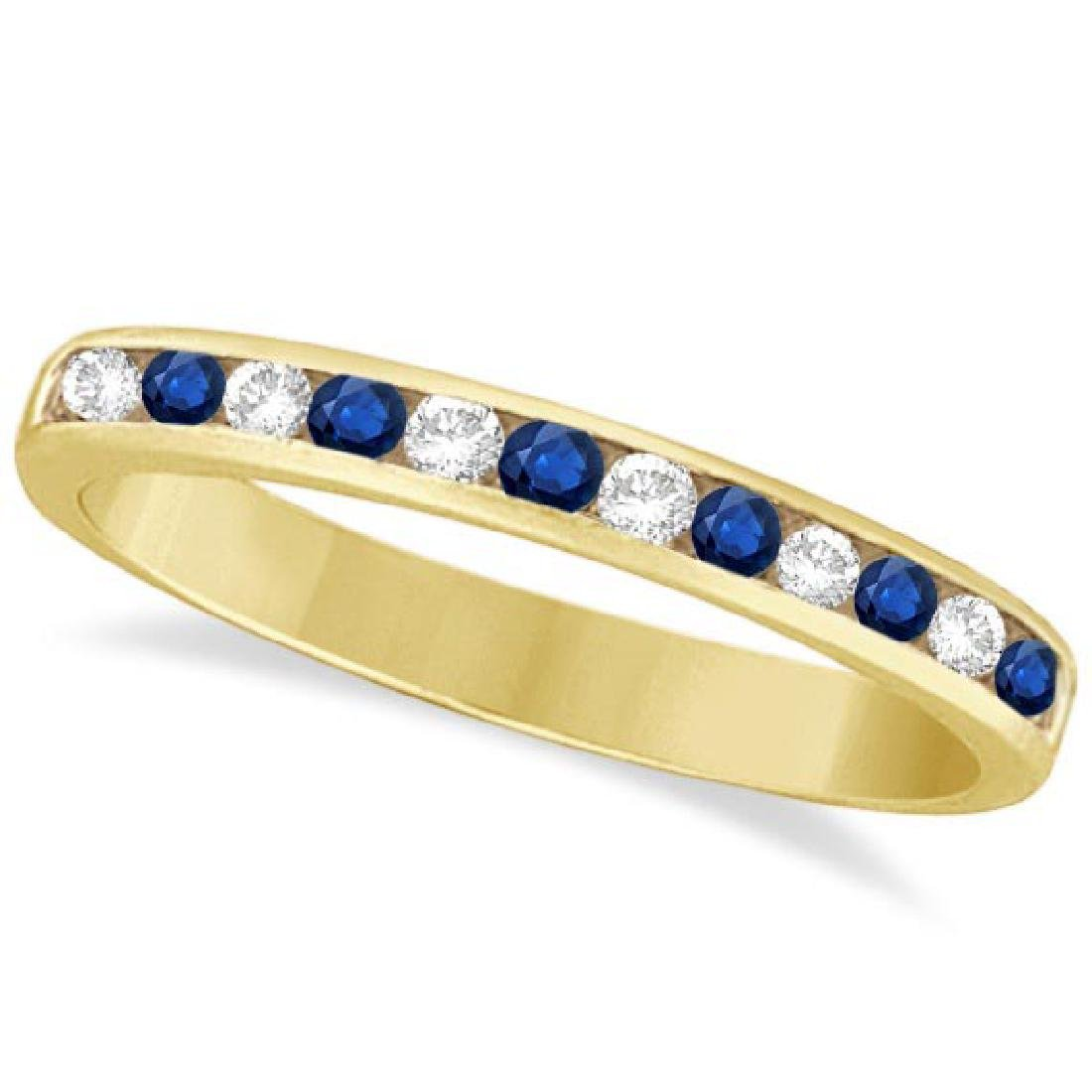 Channel-Set Blue Sapphire and Diamond Ring 14k Yellow G