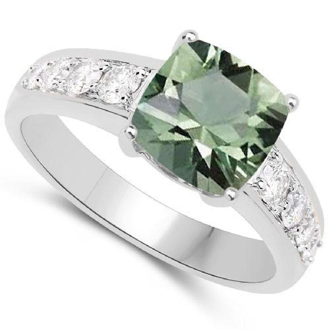 Certified 4.35 CTW Genuine Green Amethyst And Diamond 1