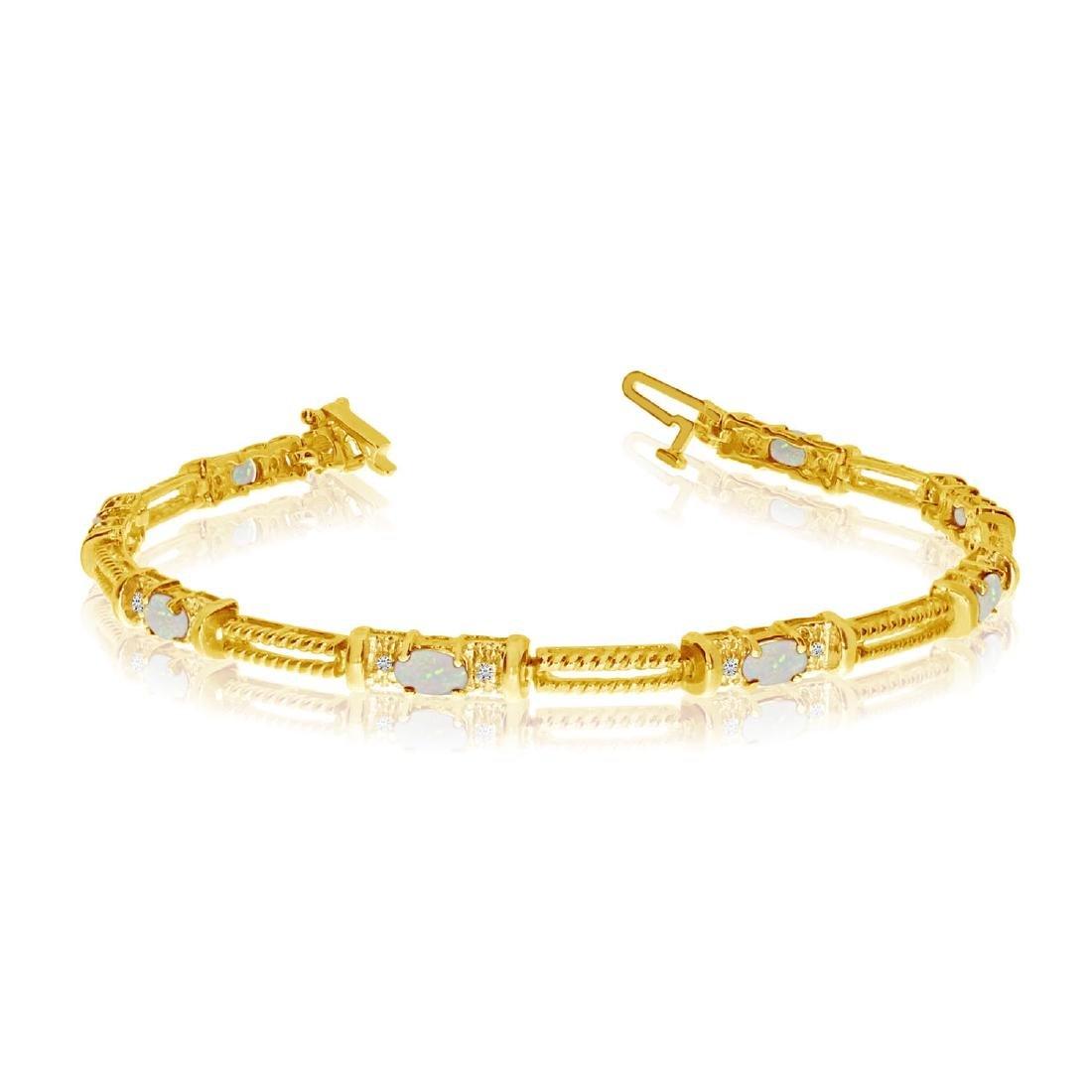 Certified 14k Yellow Gold Natural Opal And Diamond Tenn