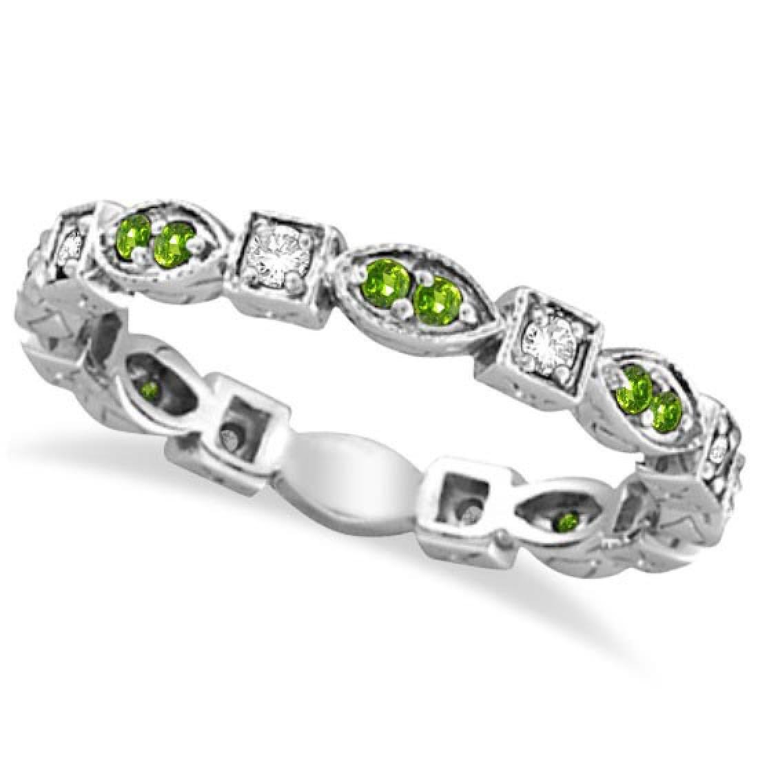 Peridot and Diamond Eternity Anniversary Ring Band 14k