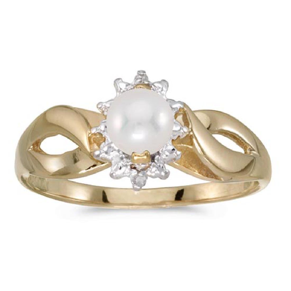 Certified 10k Yellow Gold Pearl And Diamond Ring