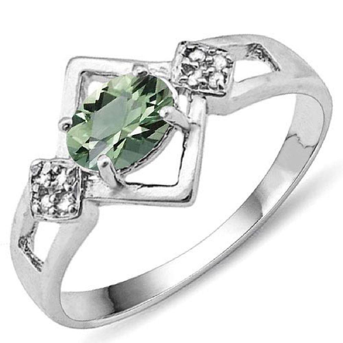 Certified 1.10 Ctw. Genuine Green Amethyst And Diamond