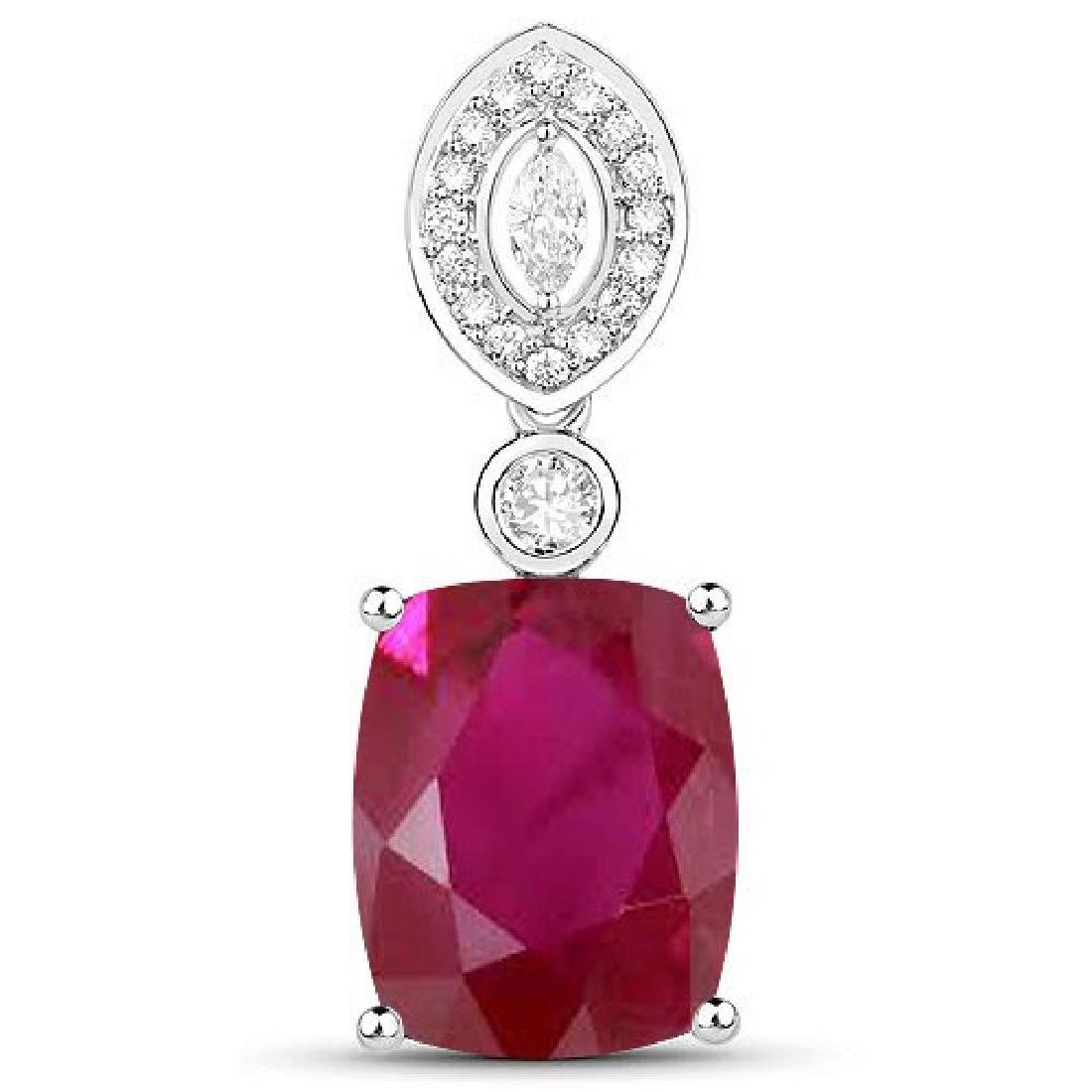 Certified 4.40 CTW Genuine Ruby And Diamond 14K White G