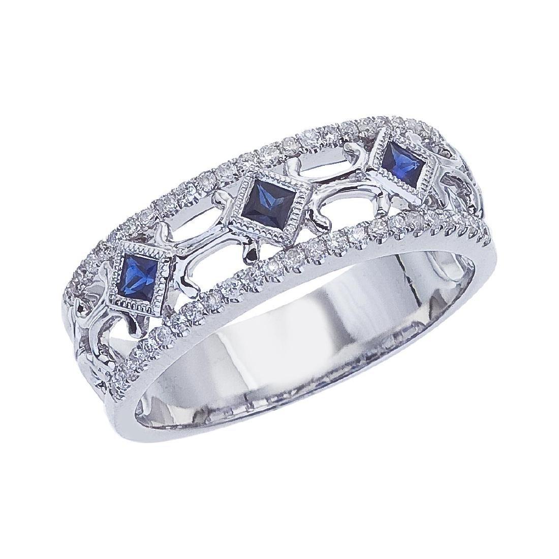 Certified 14k White Gold Sapphire Diamond Open Band 0.2