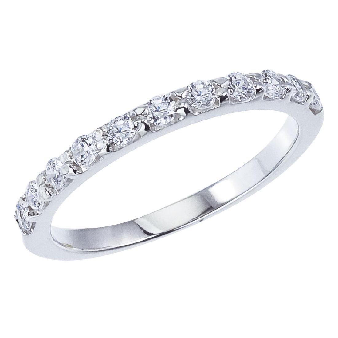 Certified 14K White Gold .55 CTW Diamond Band Ring 0.55