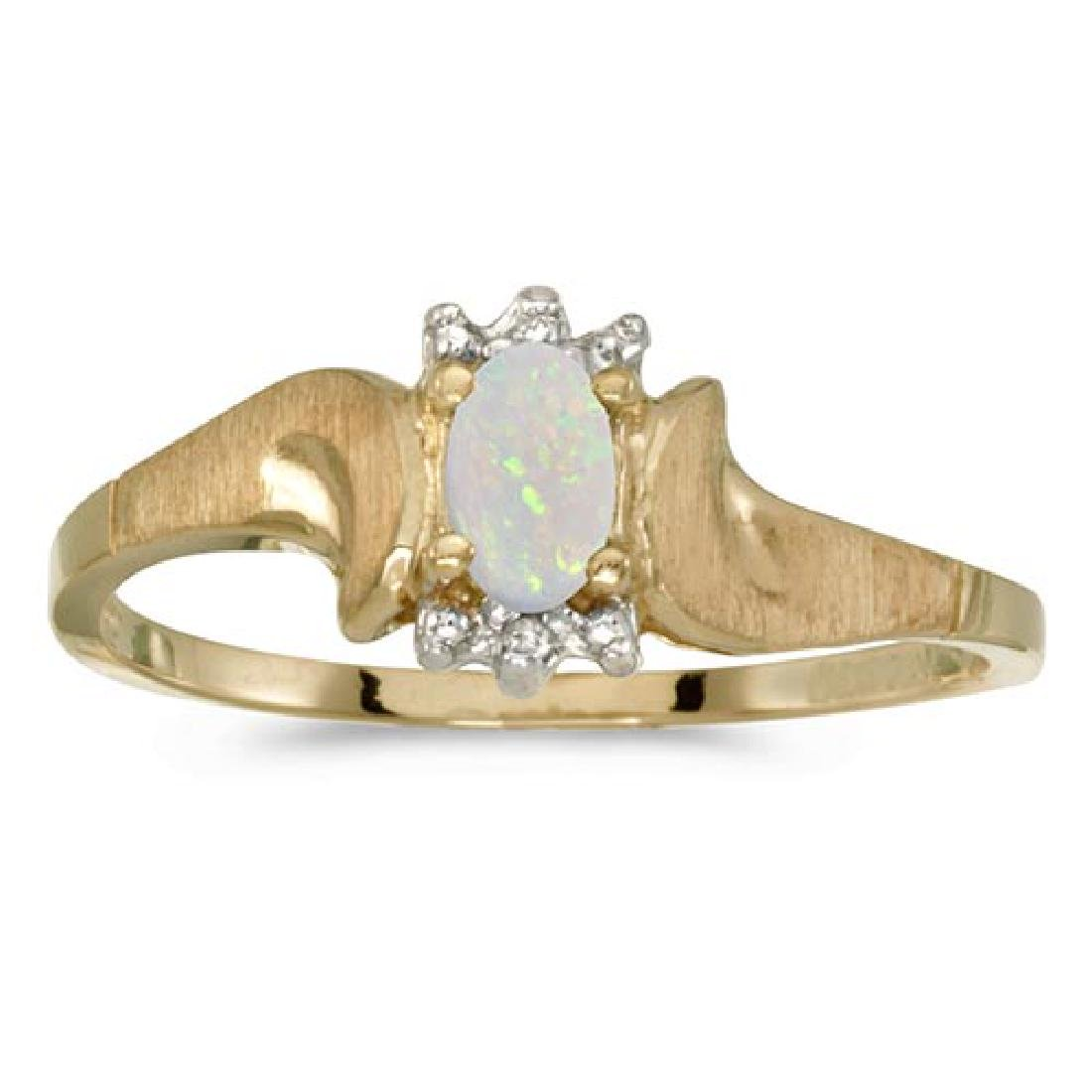 Certified 14k Yellow Gold Oval Opal And Diamond Satin F