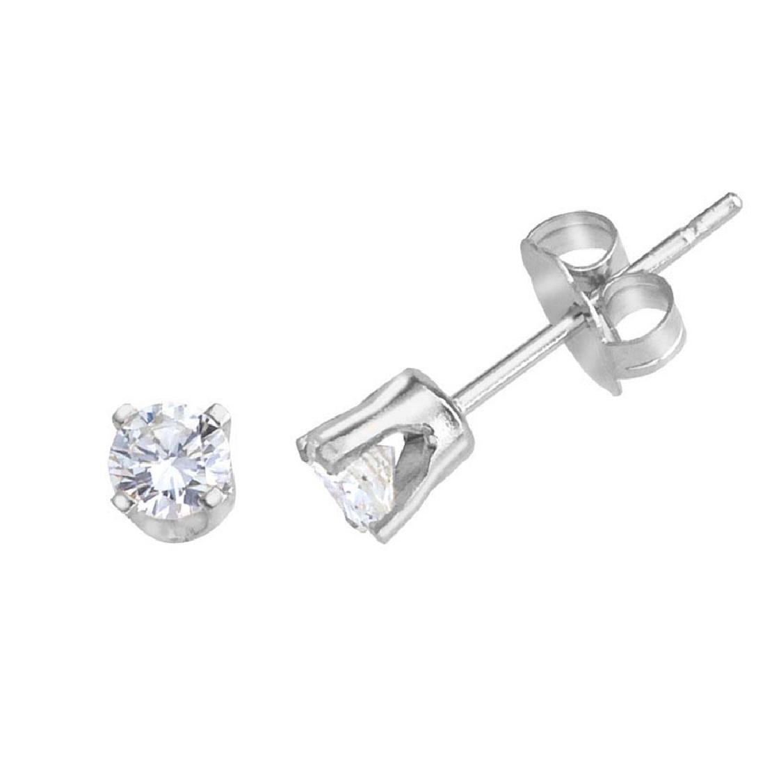 Certified 14k White Gold 0.25 Ct Diamond Stud Earrings