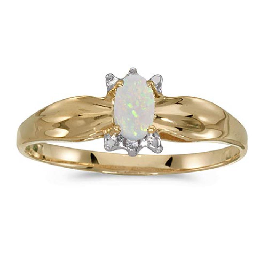Certified 14k Yellow Gold Oval Opal And Diamond Ring