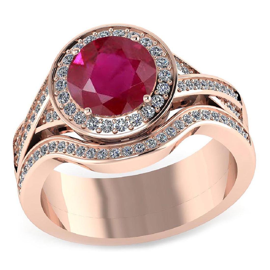 Certified 1.95 CTW Genuine Ruby And Diamond 14K Rose Go