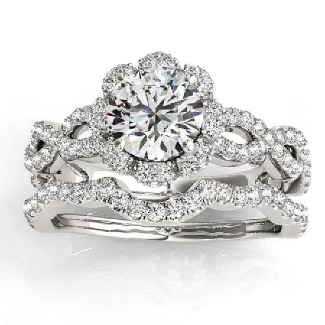 Halo Diamond Engagement and Wedding Rings Bridal Set 14