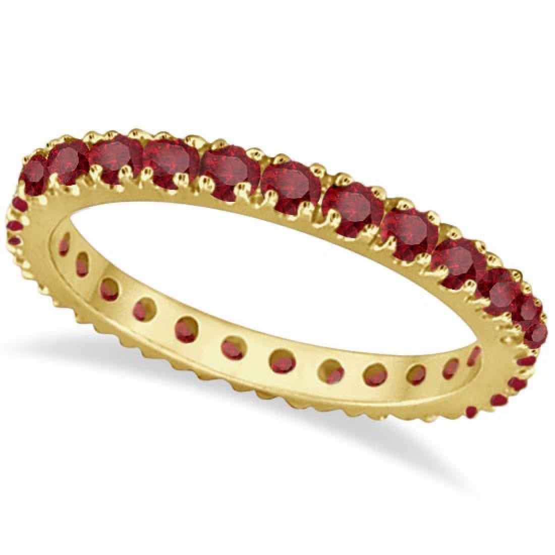Ruby Eternity Band Stackable Ring 14K Yellow Gold (0.50