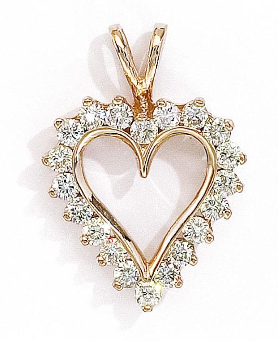 Certified 14K Yellow Gold and Diamond Heart Pendant (1.