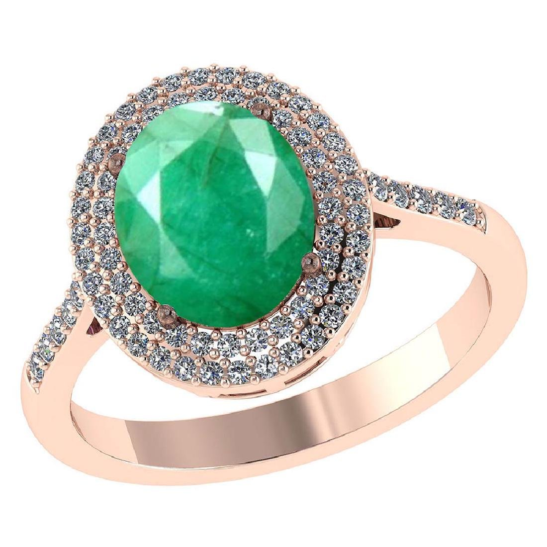 Certified 3.2 CTW Genuine Emerald And Diamond 14K Rose