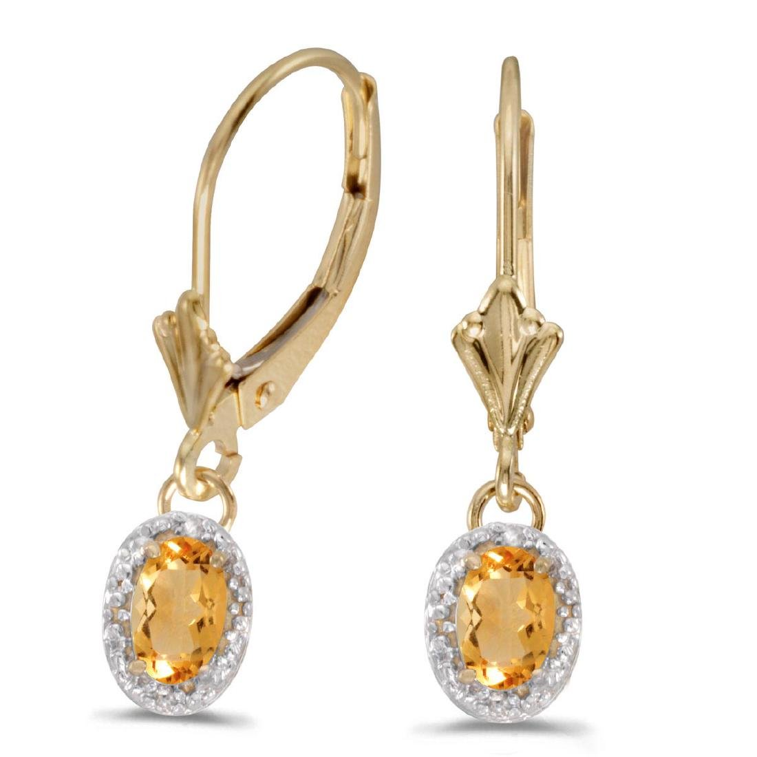 Certified 14k Yellow Gold Oval Citrine And Diamond Leve